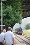 The steam train (Leander, a Jubilee class engine, it says here) approaches